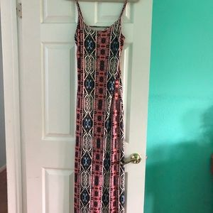 Long length dress. Rust/blue.